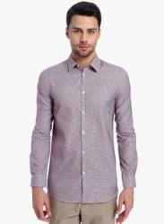 Mauve Checked Slim Fit Casual Shirt