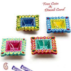 Aapno Rajasthan Multicolor Hand Painted And Decorated 4 Diya Set