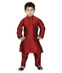 Nikunj Red Comfortable Silk Kurta Pyjama For Boys