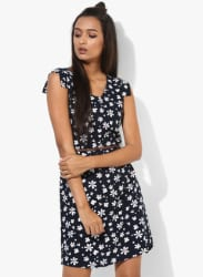 Navy Blue Printed Coloured Shift Dress With Belt
