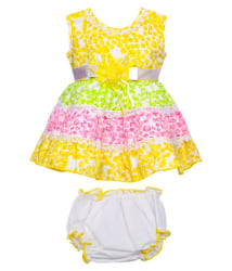 Littly Baby Girl s Party Wear Little Petal Print Cotton Frock Dress With Panty (Yellow, 18 Months-24 Months)