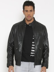 U.S. Polo Assn. Denim Co. Black Leather Biker Jacket