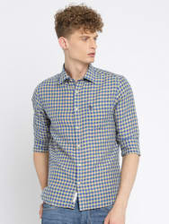 U.S. Polo Assn. Men Blue & Beige Tailored Fit Checked Casual Shirt