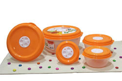 Princeware Fresh Ven Bowl Package Container Set, 5-Pieces, Orange