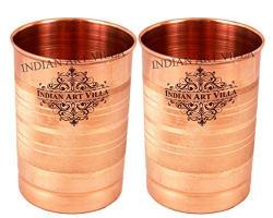 Indian Art Villa Copper Glass Tumbler, Serveware & Tableware (300 ml Each, Set Of 2)
