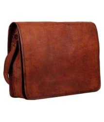 Pranjals House Brown Leather Office Messenger Bag