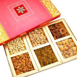 Punjabi Ghasitaram Diwali Dryfruits Pink Laser 6 Part Dryfruits Box
