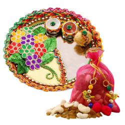 Creativity Centre Diwali Bhai Dooj Colorful Floral Tikka Thali N Dryfruit