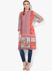 Mandarin Collar Digital Print Kurta With 3/4Th Sleeves
