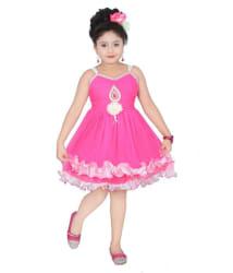 Lollipop Creations Pink Net Frock for Girls