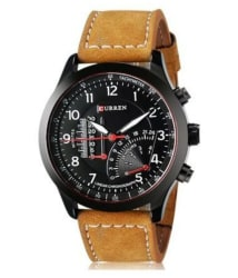 Smc Brown Leather Analog Watch
