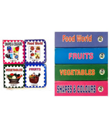 Board Books Collection -4 books set ( shapes & colour, food world, fruit & vegetables)