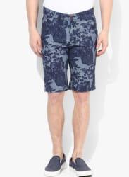 Navy Blue Printed Slim Fit Short
