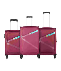 Safari Greater Red Set of 3 Small,Medium & Large 4 Wheel Soft Luggage