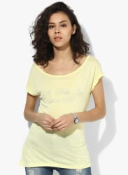 Yellow Embellished T Shirt