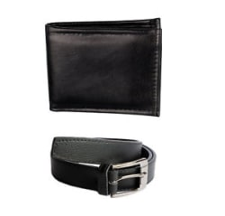 Faux Leather combo of Wallet and Belt in Black