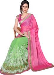 Livie Embroidered, Embellished, Solid Bollywood Net Saree (Pink)