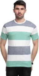 Yukth Striped Men s Round Neck Green, Blue T-Shirt