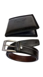 Discover Fashion Black Pu Leather Belt Wallet Combo of 2