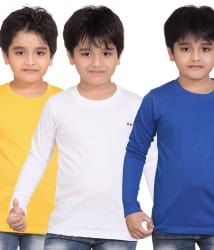 Dongli Multicolor Full Sleeves Cotton T Shirt For Boys - Combo Of 3