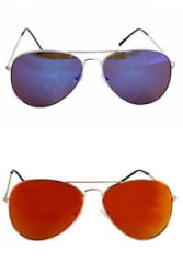 Combo of two Aviators sunglasses In Mirror Lenses