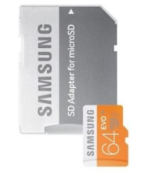 Samsung Evo 64 GB Micro SDHC Class 10 100MB/s memory card with SD Adaptor
