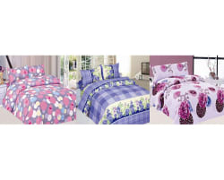 Carah Pack of 3 Bedsheets With Six Pillow Covers, multicolor