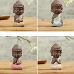 4Pcs Little Buddha Statue Monk India Handicrafts Ceramic Tea House Miniature