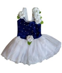 MPC Blue and White Comfortable Cute Frock For Girls