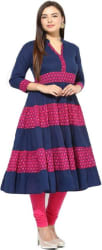 The Style Story Women Printed Anarkali Kurta (Multicolor)