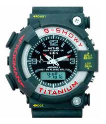 Mt-G Black Round Pu Strap Analog-Digital Watch