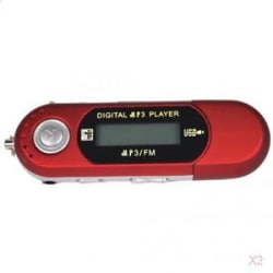 2pcs 3 in1 4GB MP3 MP4 Music Player Voice Recorder USB Disk Card Reader Red