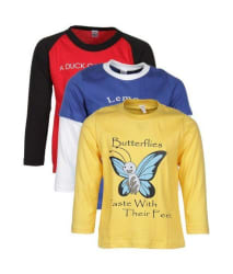 Goodway Multicolor 100% Cotton Full Sleeves Pack of 3 T-Shirts For Boys