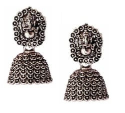 Urbanela Antique Designer Jhumki Earrings Oxidised Silver Plated Fashion Jewellery ADEC103