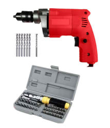POWERFUL 10MM Drill Machine + 6 HSS Bits METAL + 1 Masonary Bit WALL + 41 Pcs Screwdriver Set