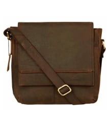 Leaderachi Brown Leather Casual Messenger Bag