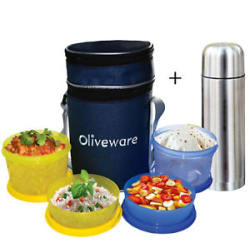 Oliveware LB36 4 Containers Lunch Box + Steel Flask or Sipper or Fruit Infuser