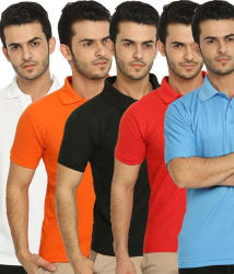 Lime Offers Combo of 5 Men s Polo T-Shirts, l, multicolor