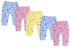Kuchipoo Kids Pyjama Baby Leggings Bottoms - Pack of 5 (0-3 Months)