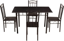 Woodness Nevada Metal 4 Seater Dining Set (Finish Color - Black)
