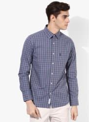 Grey Checked Regular Fit Casual Shirt