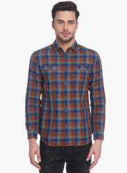 Brown Checked Regular Fit Casual Shirt