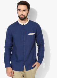 Navy Blue Solid Regular Fit Casual Shirt