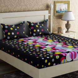 Zesture 104 TC Cotton Double Polka Bedsheet (Pack of 1, Multicolor)