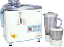 Crompton prima CG- RJ PLUS 450 W Juicer Mixer Grinder (White & blue, 2 Jars)