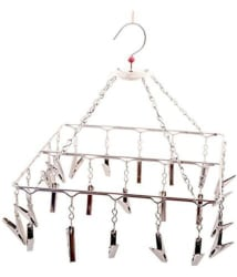 FAVOUR Stainless Steel Square Jhoomar Hanger with swivel hook & 25 Cloth Pegs