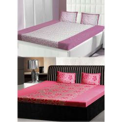 India Furnish Double Bedsheets With Pillow Covers Combo Of 2 Sets (IFBST15239), multicolor