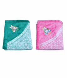 Garg Teddy Love Fur Design Polar Fleece Green & Pink Blanket Combo with Hood