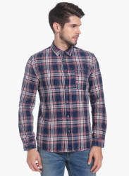 Navy Blue Checked Slim Fit Casual Shirt
