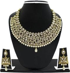 Zaveri Pearls Zinc Jewel Set (White, Gold)